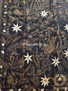 Kain Batik Tulis Motif Floral Coklat Latar Hitam