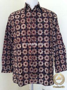Kemeja Batik Panjang Motif Cempaka Sogan Klasik