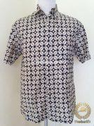 Kemeja Batik Pendek Motif Kawung Krem Modern