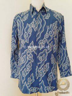 Kemeja Batik Tulis Panjang Megamendung Biru