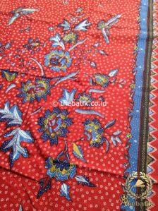 Bahan Kain Batik Tulis Floral Boketan Biru Latar Merah