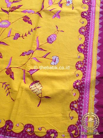 Bahan Kain Batik Tulis Floral Boketan Kuning Pink Jambon