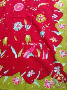 Bahan Kain Batik Tulis Floral Marun Hijau Kupu-Kupu