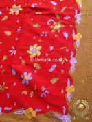 Bahan Kain Batik Tulis Floral Kuning Merah Cantik