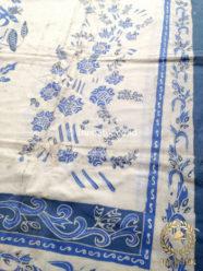 Kain Batik Tulis Warna Alam Boketan Biru Indigo Putih