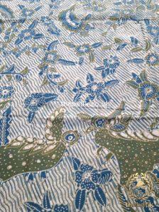 Kain Batik Tulis Warna Alam Burung Galaran Hijau Biru