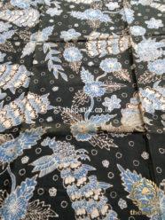 Kain Batik Tulis Warna Alam Burung Merak Latar Hitam