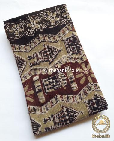 Kain Batik Warna Alam Motif Rumah Etnik