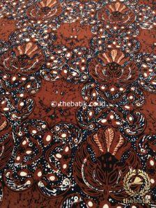 Bahan Kain Batik Kombinasi Tulis Gurdo Sogan Latar Hitam