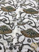 Bahan Kain Baju Batik Warna Alam Indigo Teratai Lotus Putih