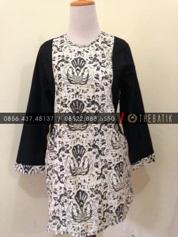 Jahit Batik Model Blus Batik Klasik Kombinasi Lengan Polos Hitam