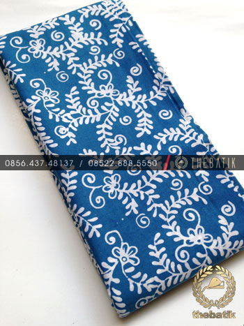 Kain Batik Bahan Baju Motif Daun Sulur Biru Muda