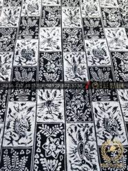 Kain Batik Bahan Baju Motif Ubinan Kotak Hitam Putih