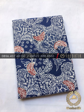 Kain Bahan Baju Batik 2 Meteran Warna Biru Floral