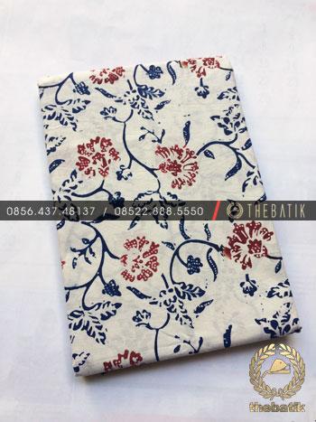 Kain Bahan Baju Batik 2 Meteran Warna Biru Latar Putih