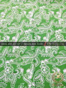 Kain Batik Bahan Baju 2 Meteran Motif Floral Kembang Hijau