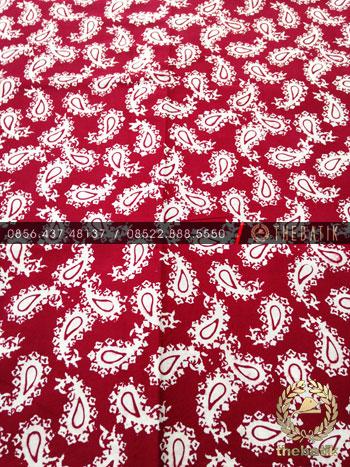 Kain Batik Bahan Baju 2 Meteran Paisley Keongan Merah Hati