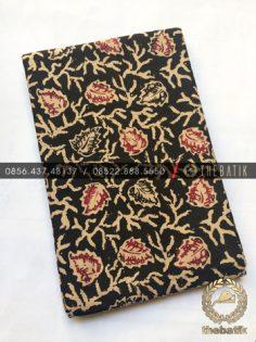 Kain Bahan Baju Batik 2 Meteran Sogan Hitam Dedaunan