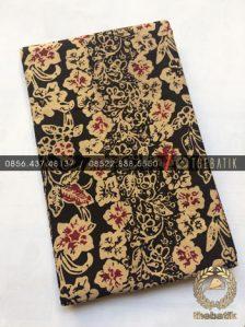 Kain Bahan Baju Batik 2 Meteran Sogan Hitam Floral
