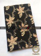Kain Bahan Baju Batik 2 Meteran Sogan Hitam Kembang Kantil