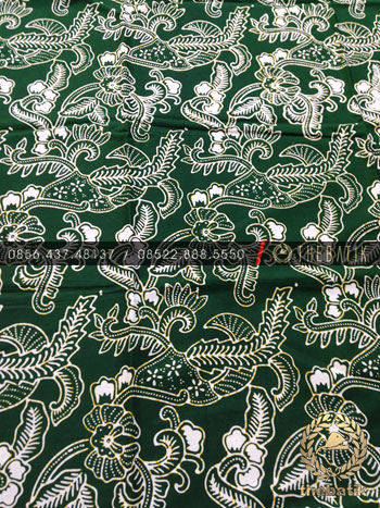Kain Bahan Baju Batik Motif Floral Hijau
