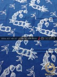 Kain Batik Tulis Warna Alam Bahan Baju Floral Indigo Biru