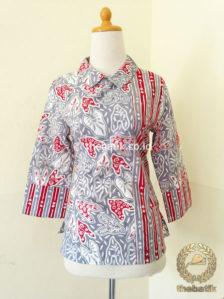 Jual Model Baju Batik Kerja Wanita Blus Kombinasi Garis Thebatik