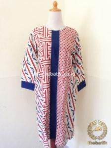 Jual Model Baju Batik Wanita Blus Batik Panjang Motif Kombinasi