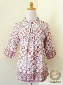 Jual Model Baju Batik Kerja Wanita Blus Warna Alam Modern