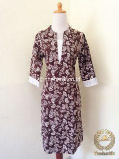 Model Baju Batik Kerja Wanita – Dress Kerah V Neck