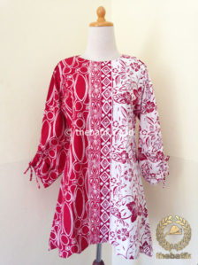 Jual Model Baju Batik Wanita Kombinasi Motif Merah Putih