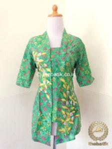 Jual Model Baju Batik Kerja Wanita Kebaya Bordir Modern Hijau