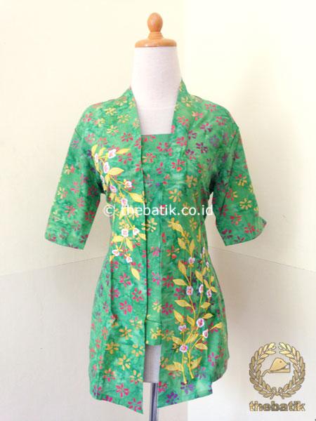 Jual Model Baju Batik Kerja Wanita Kebaya Bordir Modern Hijau Thebatik Co Id
