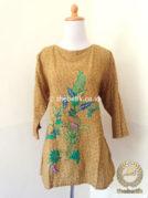 Model Baju Batik Wanita – Blus Modern Kuning Bordir