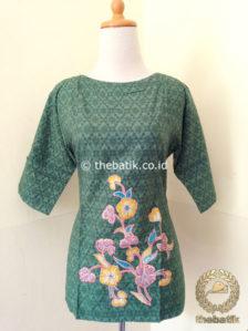 Jual Model Baju Batik Wanita – Blus Modern Hijau Bordir  986489df21