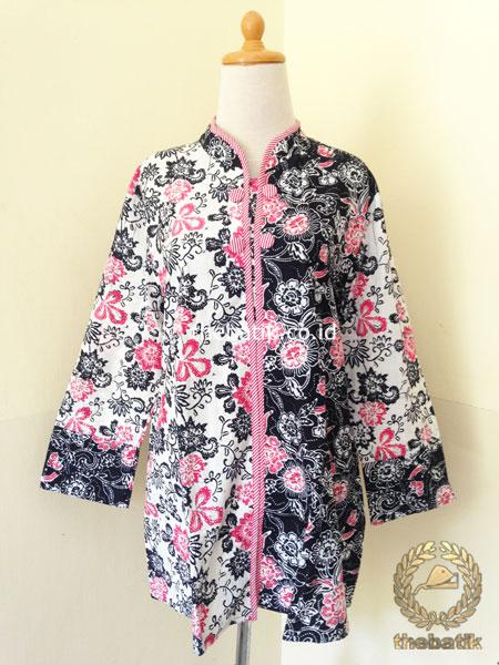 Jual Model Baju Batik Wanita Blus Modern Putih Pink Thebatik Co Id