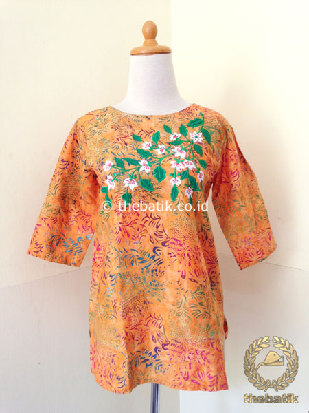 Model Baju Batik Wanita Blus Orange Bordir Thebatik Co Id