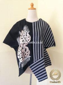 Jual Model Baju Batik Kerja Wanita Blus Lurik Modern Hitam