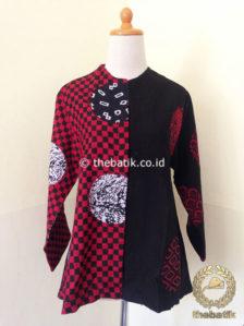 Jual Model Baju Batik Wanita Blus Batik Merah Hitam Kombinasi