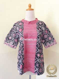 Model Baju Batik Kerja Wanita – Blus Kerah Tumpal Garis Pink