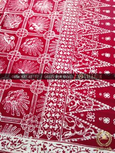 Kain Batik Bahan Baju Motif Ondel-Ondel Jakarta Maroon