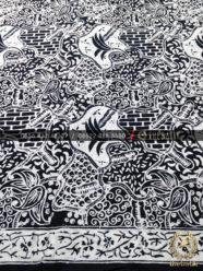 Kain Batik Bahan Baju Motif Sekarjagat Hitam Putih