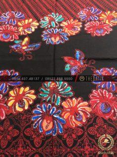 Batik Modern Motif Kombinasi Merah Hitam Bunga