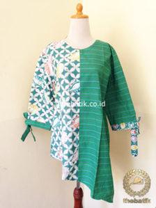 Jual Model Baju Batik Modern Wanita Blus Lurik Batik Hijau