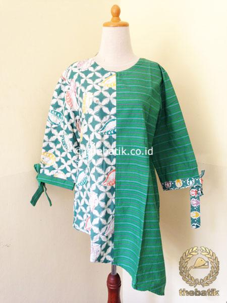 Jual Model Baju Batik Modern Wanita Blus Lurik Batik Hijau Thebatik Co Id
