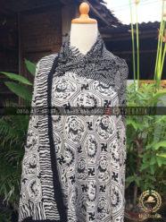 Kain Batik Paris – Bahan Baju Motif Heksagonal Hitam Putih
