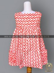 Model Dress Batik Modern Anak Perempuan Saku Pink
