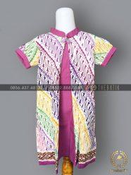 Model Baju Batik Modern Anak Perempuan Ungu Warna-Warni