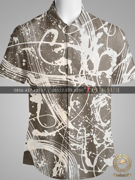 Kain Batik Abstrak Gradasi Abu-Abu Kecoklatan