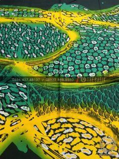 Kain Batik Gradasi Abstrak Hijau Kuning